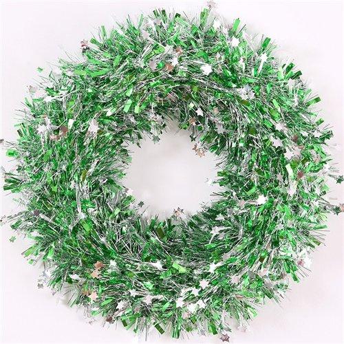 Endless Creations 37cm Decorazione Ghirlanda Verde con Mini Stelle Argento