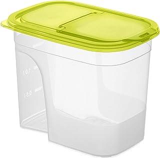Rotho Sunshine Vorratsdose 2,2l mit Deckel und Schütte, Kunststoff PP BPA-frei, transparent/grün, 2,2l 20,3 x 13,5 x 16,0 cm
