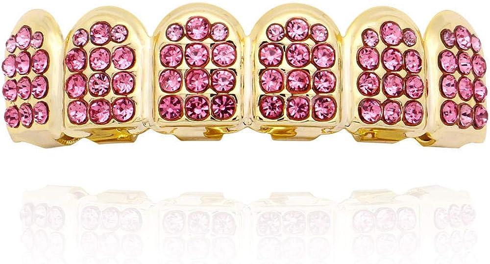 Hip Hop Teeth 18K gold-plated hip-hop braces, multicolor diamond-set six-tooth canine accessories