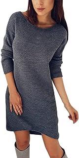 d540dd47354 Minetom Automne Hiver Mode Femme Solide Col Rond Pull Long Shirt  Décontracté Chemises À Manches Longues
