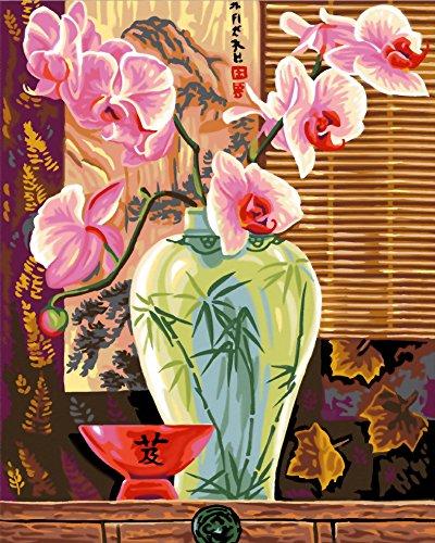 Creative Maxi Peinture au numéro motif Orchidées 40 x 50 cm Couleurs Assorties
