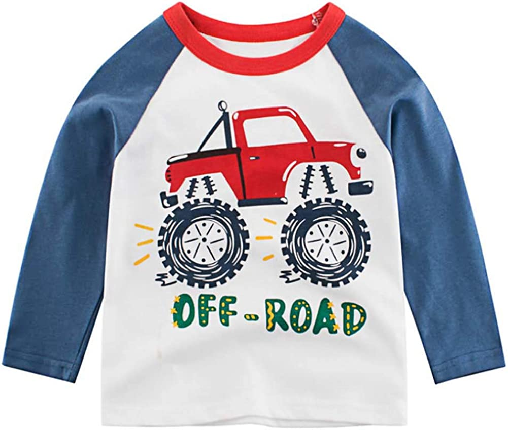 Youndcc Toddler Boys Long Sleeve T Shirts Graphic Tees Age 2-8