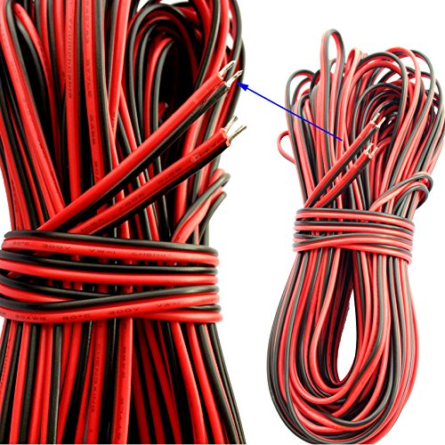 20M 66ft 20AWG Red Black Extension Cable Wire Cord for Led Strip