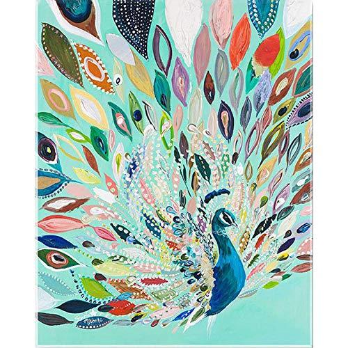 iCoCofly Pintura de diamante para niños, manualidad, pintura de diamante, bordado, cristal, estrás, bordado, decoración de pared, decoración de oficina, color pavo real, 30 x 40 cm