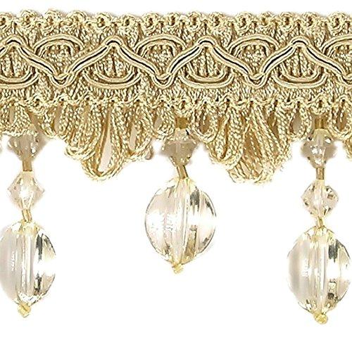 Diamantlook Bänder mit Korallen Meterware Breite 65 mm / Farbe Light Gold Sand / Zierband...