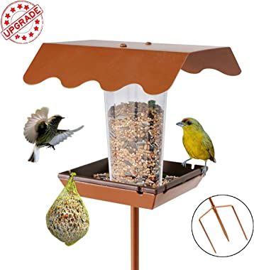 LIMEIDE Wild Bird Feeder Stand for Garden Yard Outside Square Stand on Ground, Poles in Backyard Garden, Patio,Gift idea for Parents(Stake Square) Upgrade Version