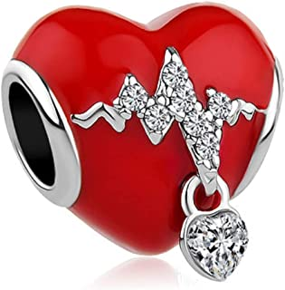 JewelryHouse Heartbeat Charms Simulated Crystal Red Heart Charms Bead fit Bracelets