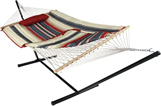 Sunnydaze Cotton Rope Hammock with 12 Foot Portable Steel Stand and Spreader Bar, Indoor or Outdoor Use, Pad and Pillow Included, Modern Lines