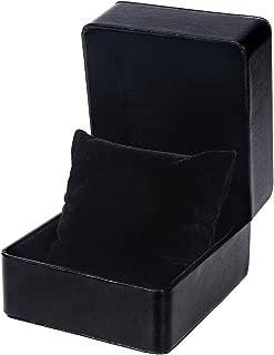 NICERIO Watch Box Holder Organizer,Premium Single Grid PU Storage Box Jewelry Bracelet Storage Gift Case,4.3 x 3.94 x 2.95inch(LxWxH)(Pure Black)