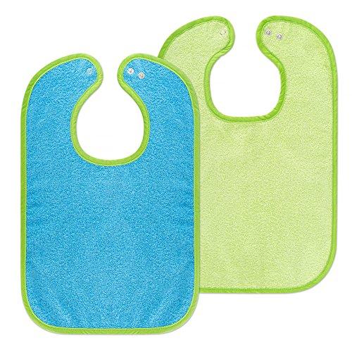 Set de 2 baberos para bebé Wörner - baberos de rizo con botón a presión ajustable | extra largo, absorbente, Certificado OekoTex - 100% algodón - (Azul / Verde)