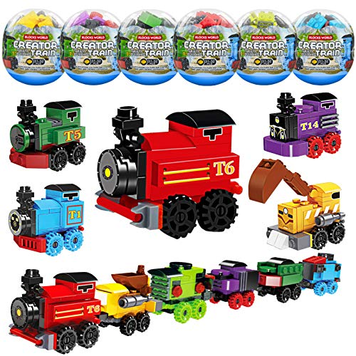 party supplies train toys K34A Toys Train Sets for Kids,12 PCS Easter Eggs,Easter Basket Fillers Fift for boys 6-8-14, Model Train Track, Building Blocks,Birthday/Party Favors/Party Supplies for Ages 7 9 10 11 12 Year Old Boys