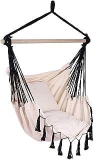 Auwish Hanging Bedroom Hammock Chair | Handmade Macrame Rope Swing Patio Chairs for Indoor, Outdoor Home, Deck, Yard, Garden Wide Seat (Beige&Black)