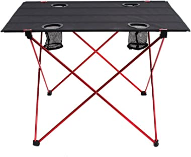 """Outry Lightweight Folding Table with Cup Holders, Portable Camp Table (L - Unfolded: 29.5"""" x 22"""" x 21"""")"""