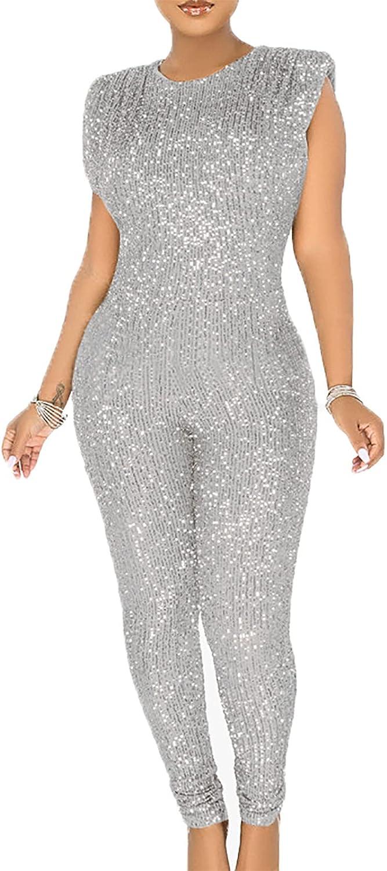 LKOUS Sale price Women Elegant Romper Sexy Deep V Sale Special Price Sequin B Long Neck Sleeve