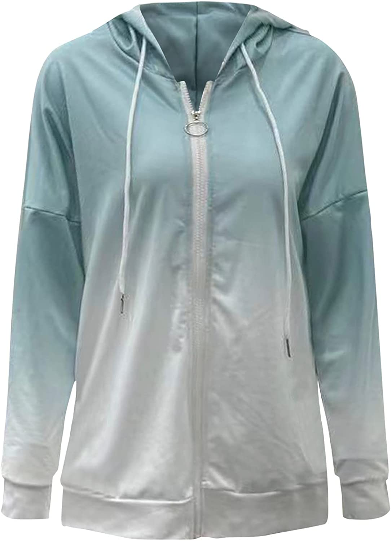 Women Long Sleeve Zip-Up Hoodies Plain/Tie Dye Printed Pullover Tops Blouse Shirt Stitching Color Sweatshirt Jacket Coat