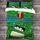 Futurama Sad - Juego de cama de 3 piezas (2016 x 180 cm), diseño de cama de poliéster