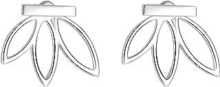 Lotus Flower Pierced Bar Earrings Sterling Silver Simple Chic Jacket Studs Earrings,Lotus Necklace for Women Girls