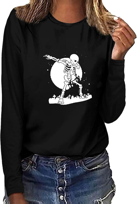 Fashion Womens Tops Halloween Skull Printed Blouses Tees O-Neck Long Sleeve Luminous T-Shirt Tops