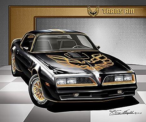 Amazon Com 1977 1978 Firebird Trans Am Starlight Black Gold Art Print Poster By Artist Danny Whitfield Size 16 X 20 Posters Prints