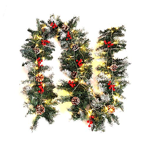 Warmiehomy Christmas Garland 2.7M Fireplace Stair Decoration Illuminated Wreath with 50 LED Lights Pine Cones Decors for Xmas Festival Tree Display