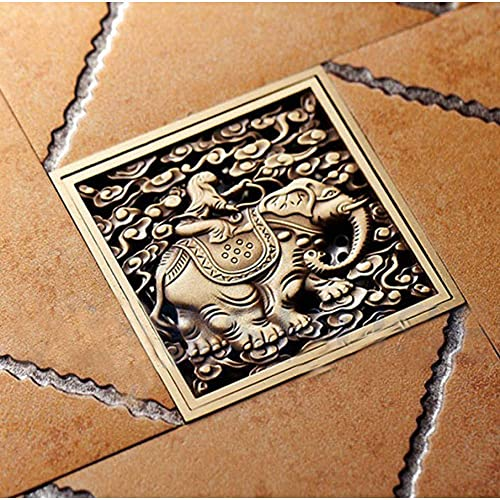 Antiek Messing Gesneden Dier Olifant Patroon Badkamer Douche Afvoer 4″Vierkante Afvoer Afvalroosters