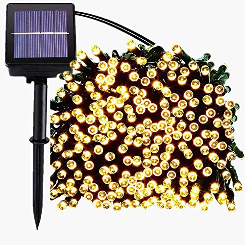 Solar Christmas Lights,72FT 200 LED 8 Mode Solar String Lights Waterproof Starry Fairy Light for Indoor/Outdoor Commercial Decor Ambiance Garden Backyard Wedding Holiday Party(Soft White)