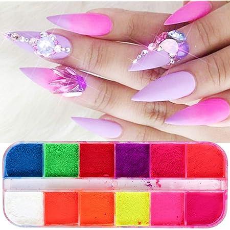 12 Colores/Caja de Pigmento en Polvo para uñas, Arena en ...