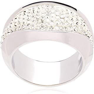 Swarovski Cycle Rhodium Plated Crystal Band Ring - Size 17.3 mm