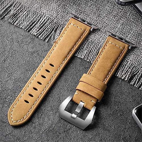 Apbands Correa de Cuero Genuino Compatible para iwatch Band 38 mm 40 mm 42 mm 44 mm, Correa de Repuesto de Cuero para iwatch Series 6 5 4 3 2 1, SE