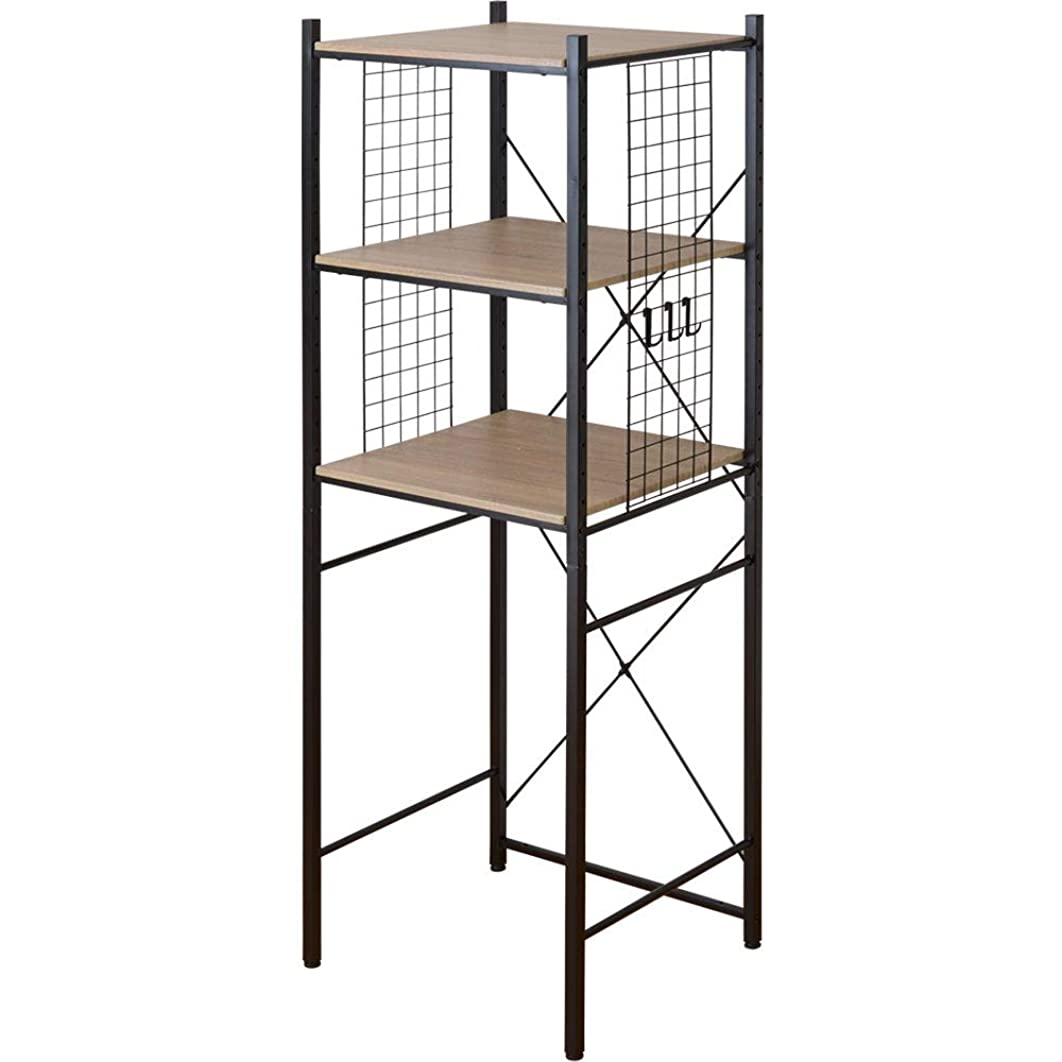 会員砂漠逃れるワイエムワールド 冷蔵庫ラック デイジー 幅60cm ブラック×オーク 00-106