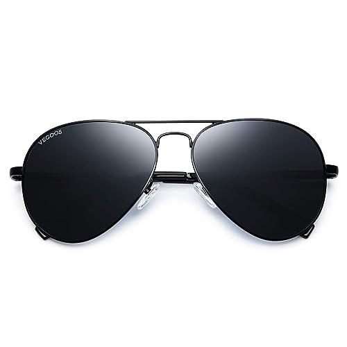 9c00ccef71 VEGOOS Mens Aviator Sunglasses Polarised Sunglasses for Women UV400  Protection Metal Frame Mirrored Sunglasses