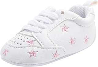 Baosity Baby Infant Kids Soft Sole Sports Wave Shoes - Pink Star, 6-12 Months