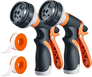 2 Packs Garden Hose Nozzle Hose sprayer - High Pressure Water Hose Nozzle for Plants, Cars, Dogs, Lawn and Garden - 8 Adju...