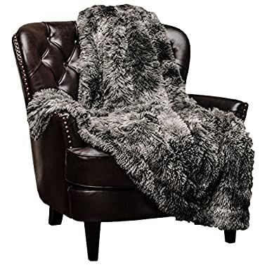 Chanasya Super Soft Shaggy Fuzzy Fur Fluffy Faux Fur Warm Elegant Cozy with Sherpa Color Variation Pattern Print Dark Gray Microfiber Throw Blanket (50  x 65 ) -Charcoal