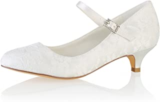 Wedding Shoes Lace Wedding Shoes Round Toe Mary Jane Bridal Shoes Kitten Heel Mother Shoes