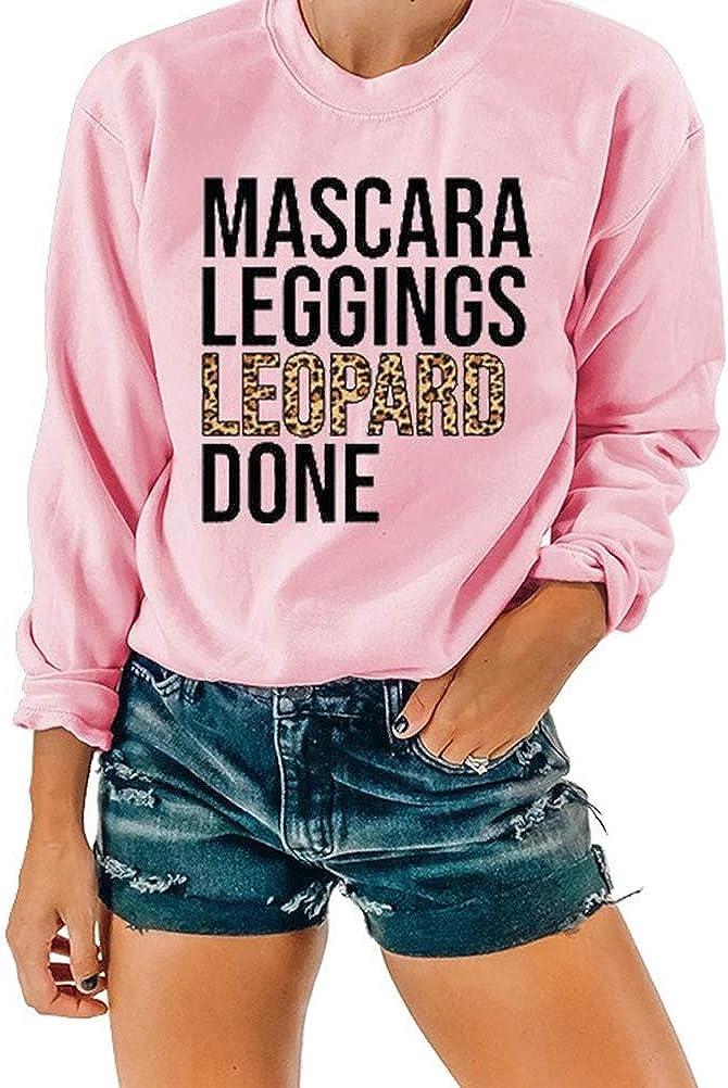 Noffish Women Leopard Print Shirt Mascara Leggings Leopard Done Pullover Sweatshirt T-Shirt Women's Clothing