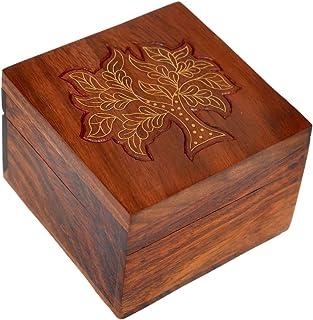 Hashcart Handmade Tree Design Wooden Jewelry Box for Women (3x3 inch)