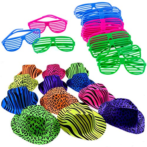 Neon 80s Party Set of 12 Neon Gangster Hats with 12 Neon Shutter Glasses