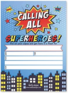 25 Superhero Birthday Invitations, Comic Book Theme Kids Bday Invites Idea, Calling All Boys Girls Coed Baby Party Style Supplies, Children Sleepover Pool Event Printed or Fill in The Blank Card Bulk