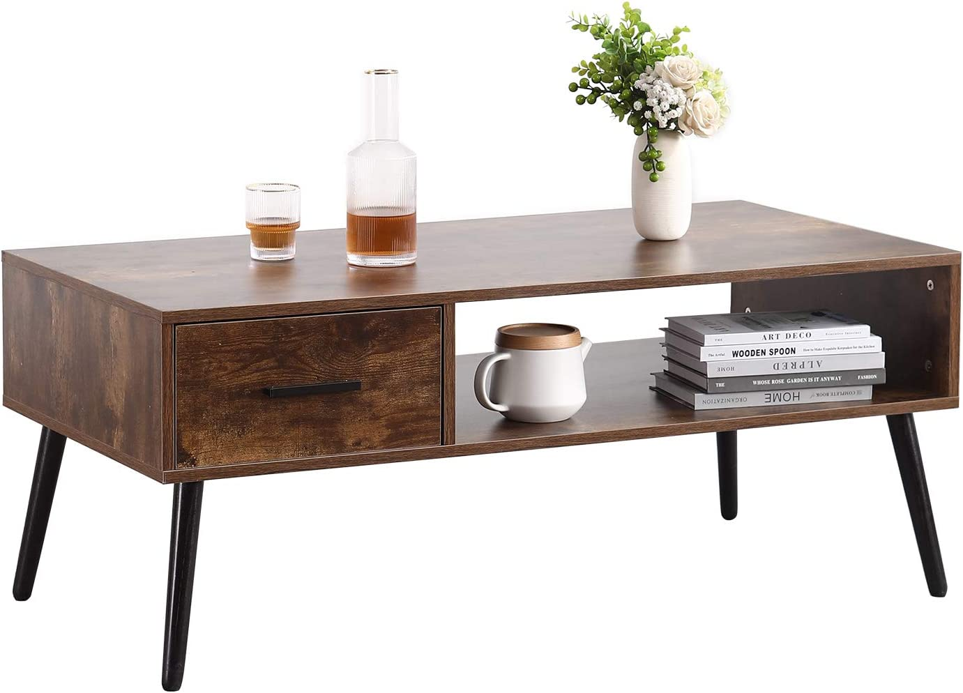 TINSAWOOD Coffee Table Japan Maker New Mid-Century Daily bargain sale Cocktail Rectangl Boho