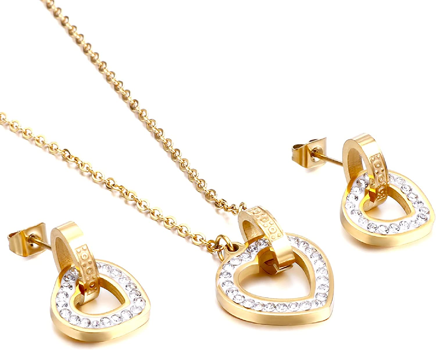 Love Heart Necklace and Earrings Set , 18K Gold Plated Jewelry Sets ,Medical 316L Necklaces for Women and Best Friend Necklaces