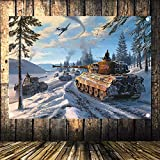 WW2 GER Panzergrenadier vs Russian Tank Battle Scene Military Posters Flag Banner Tapestry Mural Vintage Decor Upholstery 144X96CM (38X57 inches) h8