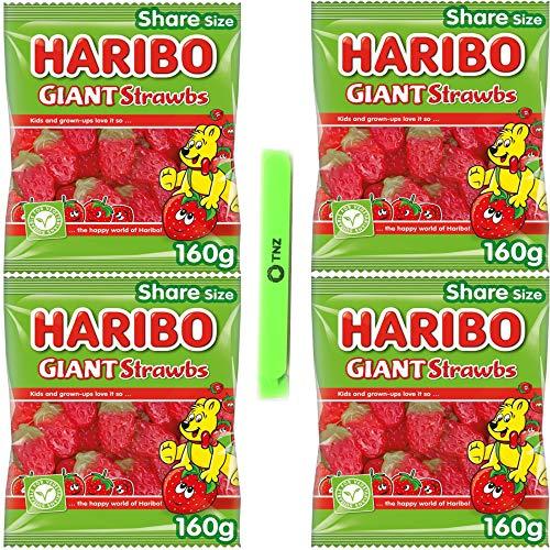 Haribo Giant Strawbs Strawberry Vegetarian Sweets Sharing Bag 160g x 4 Includes 1 Sealing Bag Clip