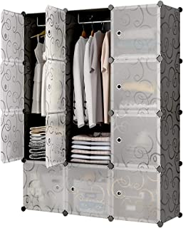 KOUSI Portable Closet Clothes Wardrobe Bedroom Armoire Storage Organizer with Doors, Capacious Sturdy, Black (6 Cubes 2 Hanging Sections)
