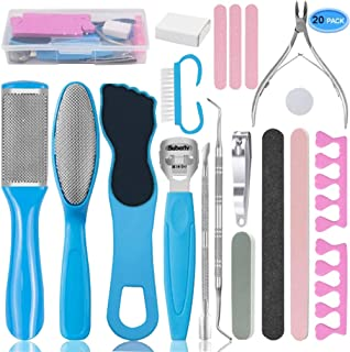 Pedicure Kit Feet Scrubber Dead Skin Remover Foot File 20 in 1 Pedicure Tools for Men Women Kids Home Salon Spa Callus Removing Set Stainless Steel Foot Rasp Foot Care Cleaner Nail Clipper