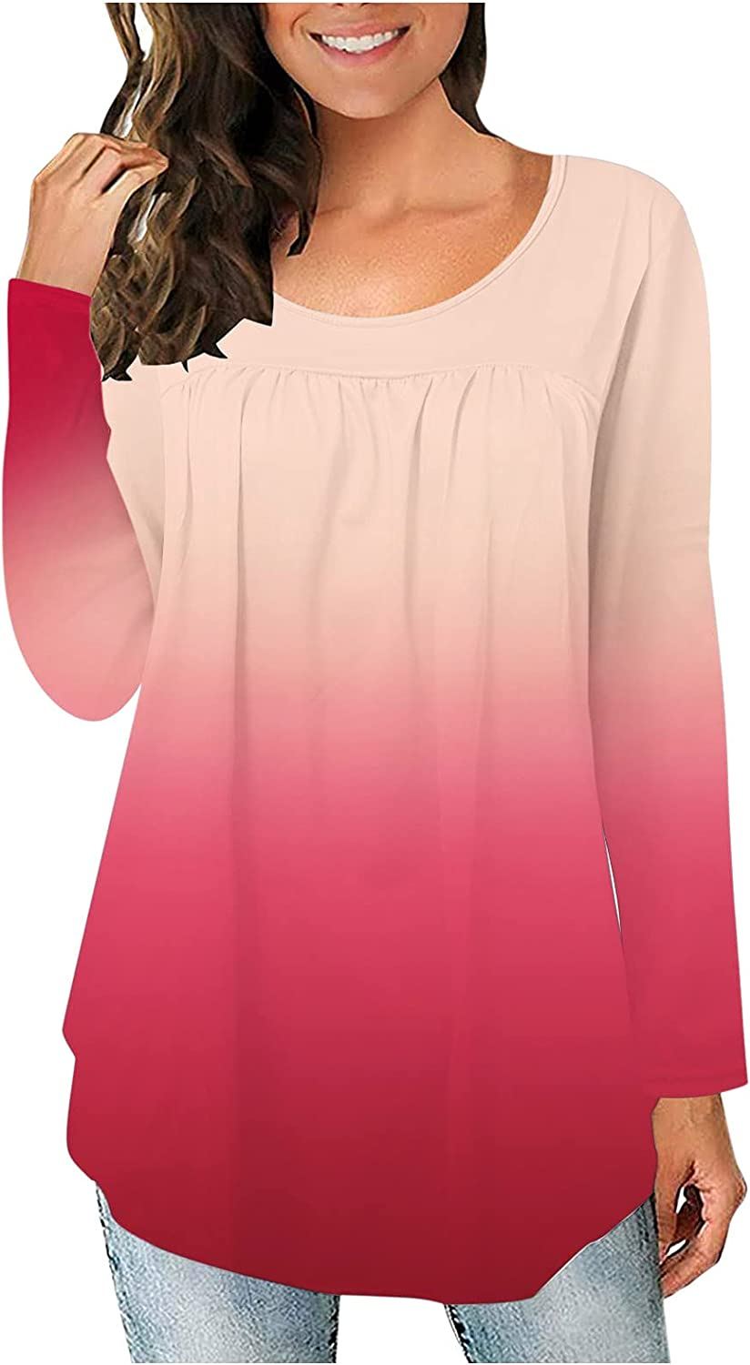 felwors Long Sleeve Shirts for Women, Womens Plus Size Long Sleeve Pullover Tops Button Up Casual Crewneck Tunics