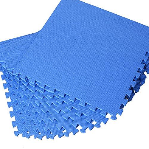 HOMCOM Puzzlematte Kinderspielteppich Matte Spielmatte Bodenschutzmatte Bodenmatte Turnmatte Eva, Blau, 60 x 60 x 1,2 cm 8 TLG.