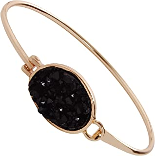 Humble Chic Simulated Druzy Cuff - Stackable Simple Thin Wire Gold-Tone Bangle Bracelets for