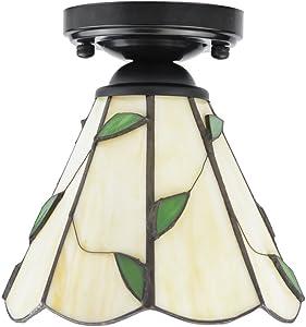 ZHMA Estilo de Tiffany lámpara de techo, 15cm Lamparas Tiffany para Dormitorio Cocina de Restaurante Sala de estar balcón pasillo lámparas luces de entrada pasillo moderno minimalista lámparas de te