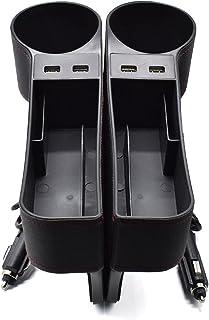XUKEY 2 Pcs Car Storage Box Seat Gap Organiser PU Leather USB Charger for Stowing Tidying Charging Side Pocket Car Seat Ga...